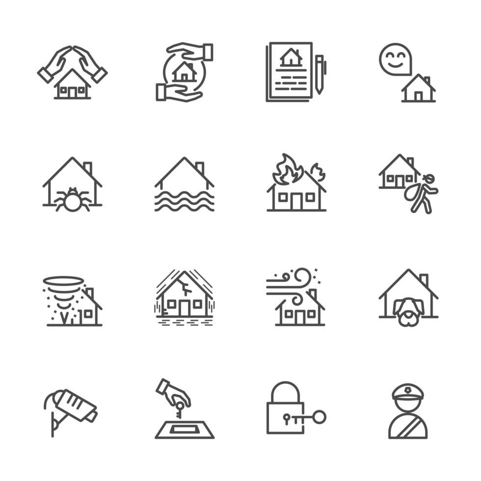 husförsäkring Ikonuppsättning vektor