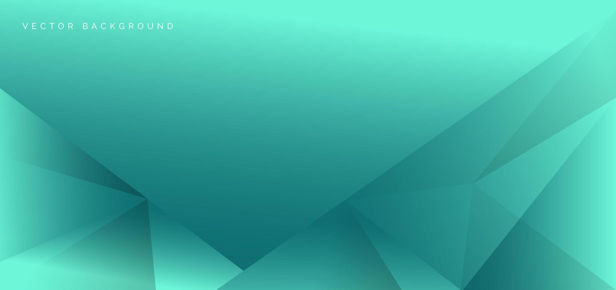 abstrakte und geometrische türkisfarbene Dreiecke Schablonenhintergrund vektor