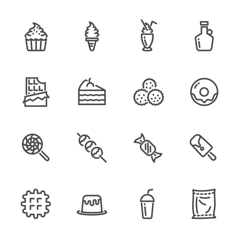 Süßigkeiten und Desserts Linie Piktogramm Icon Set vektor