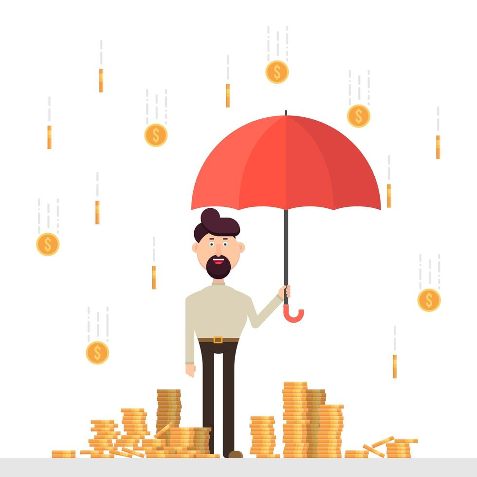 Geschäftsmann mit Regenschirm unter einem Regen von Münzen vektor