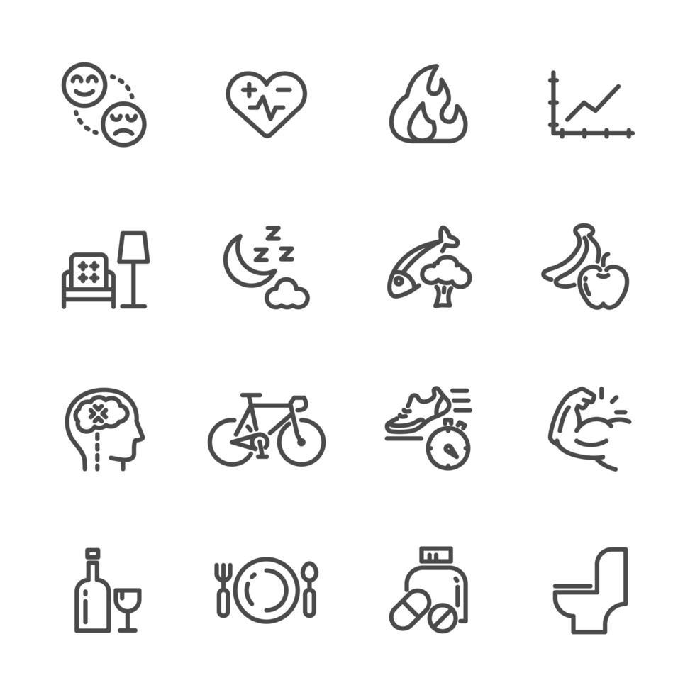 Gesundheitswesen und positiver Lebensstil Symbolsatz vektor