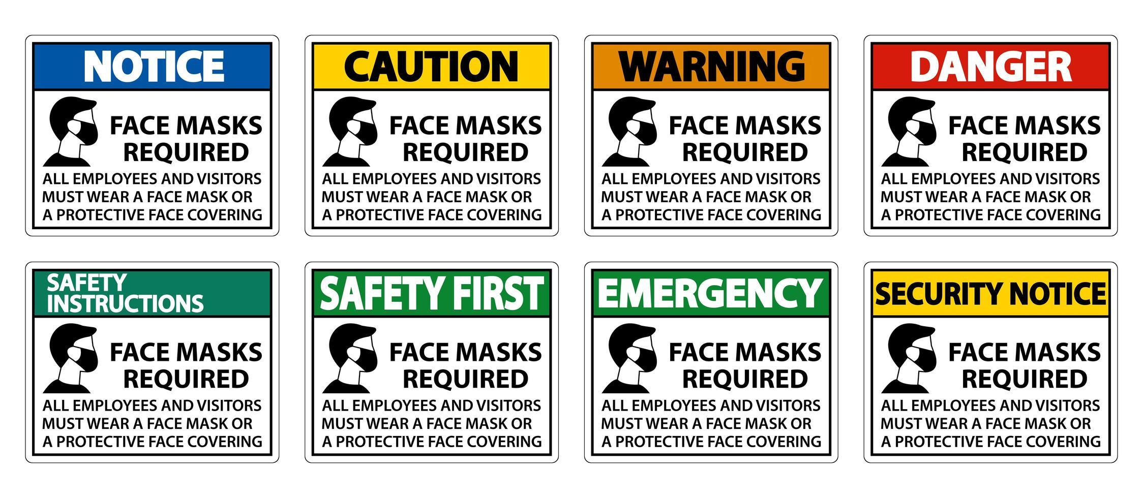 Gesichtsmasken erforderlich Zeichen vektor