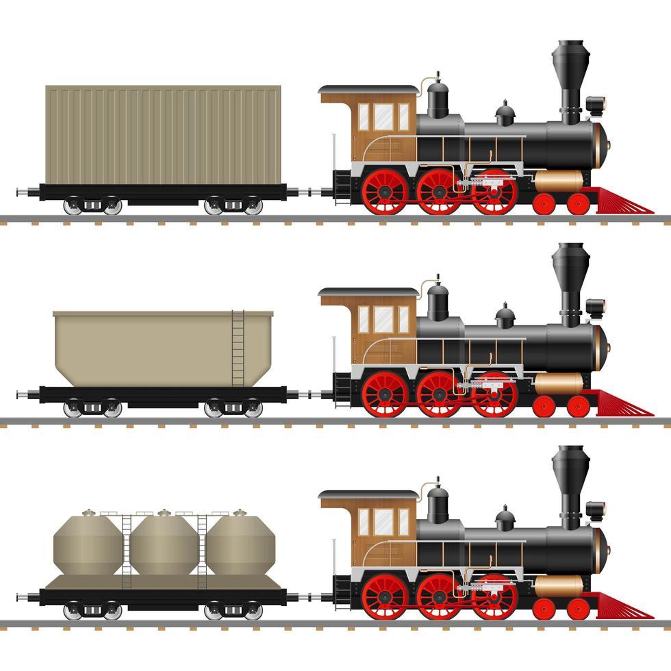 klassische Lokomotive und Wagen isoliert vektor