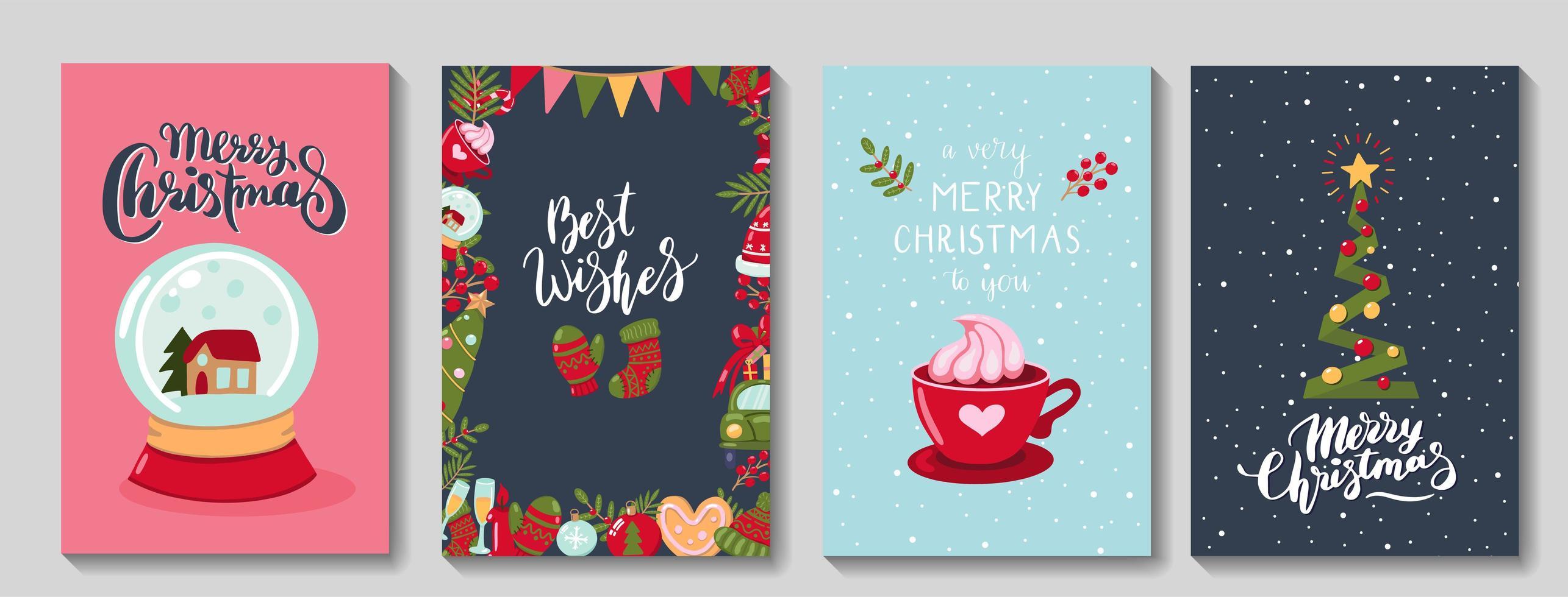 Satz frohe Weihnachten Grußkarten vektor