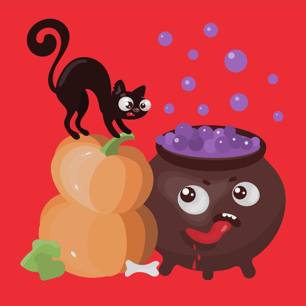 Halloween-Katzen und Kürbis vektor