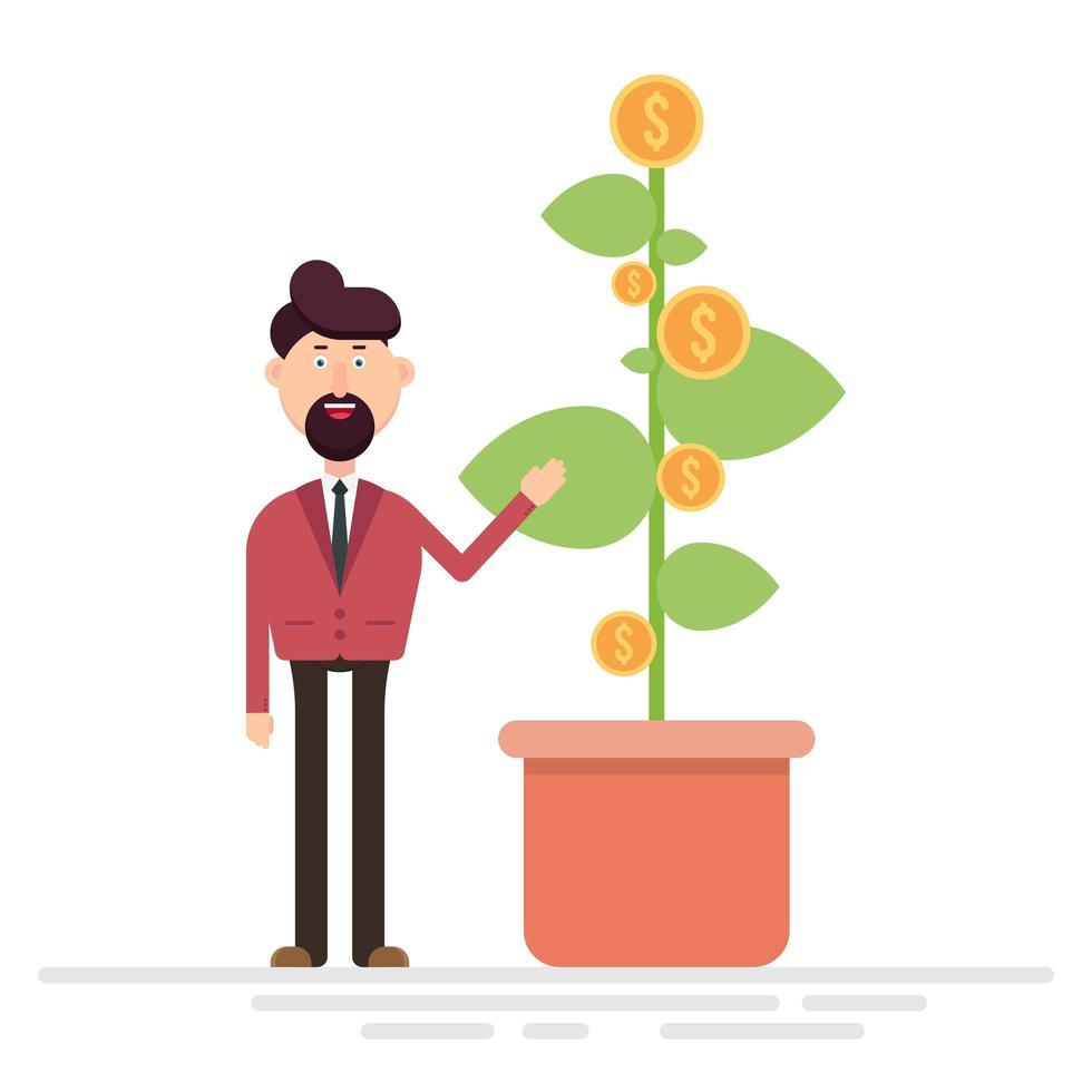 Geschäftsmann zeigt Pflanze mit Dollarmünzen vektor