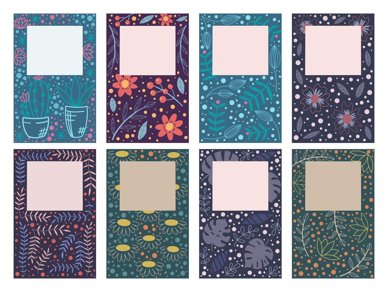 Cover Design Karten mit Blumenmustern vektor