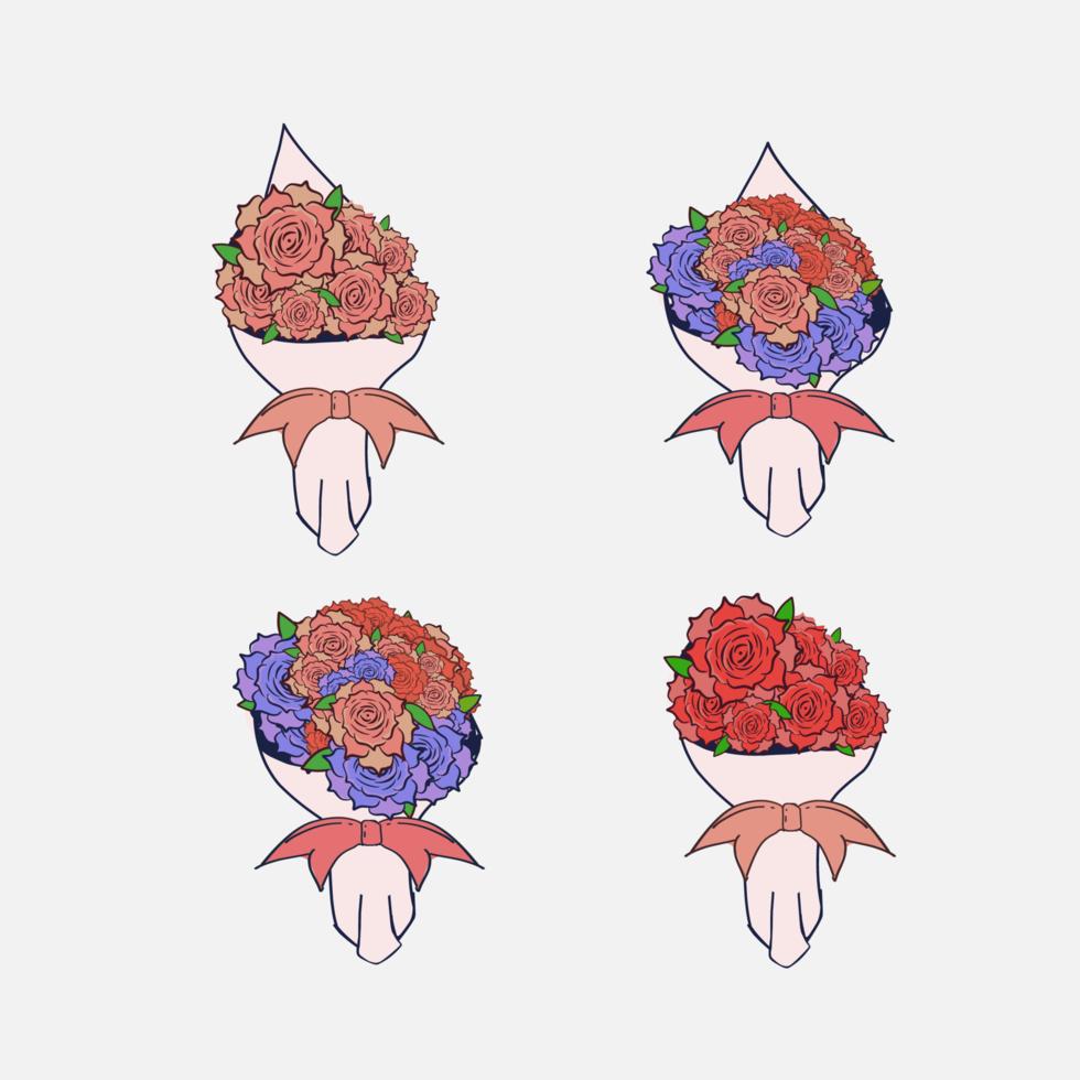 bunter Handblumenstrauß der Blumen auf weißem Hintergrund vektor