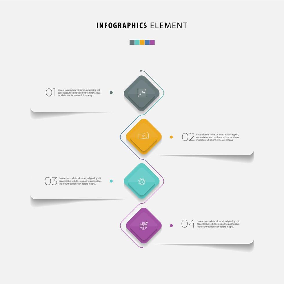 buntes Geschäft Infografik Schritte flaches Design vektor