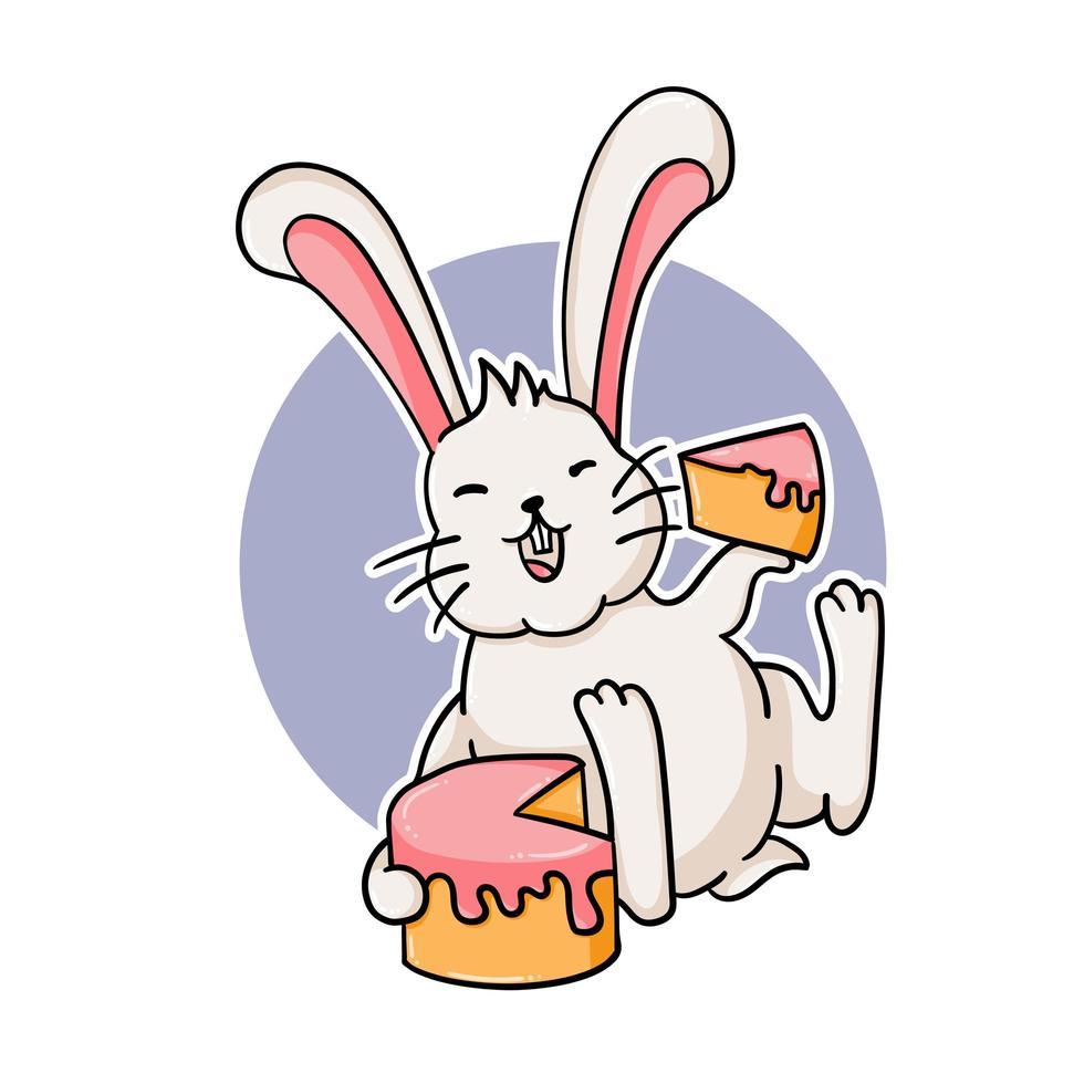 lustiges Kaninchen, das einen Kuchen isst vektor