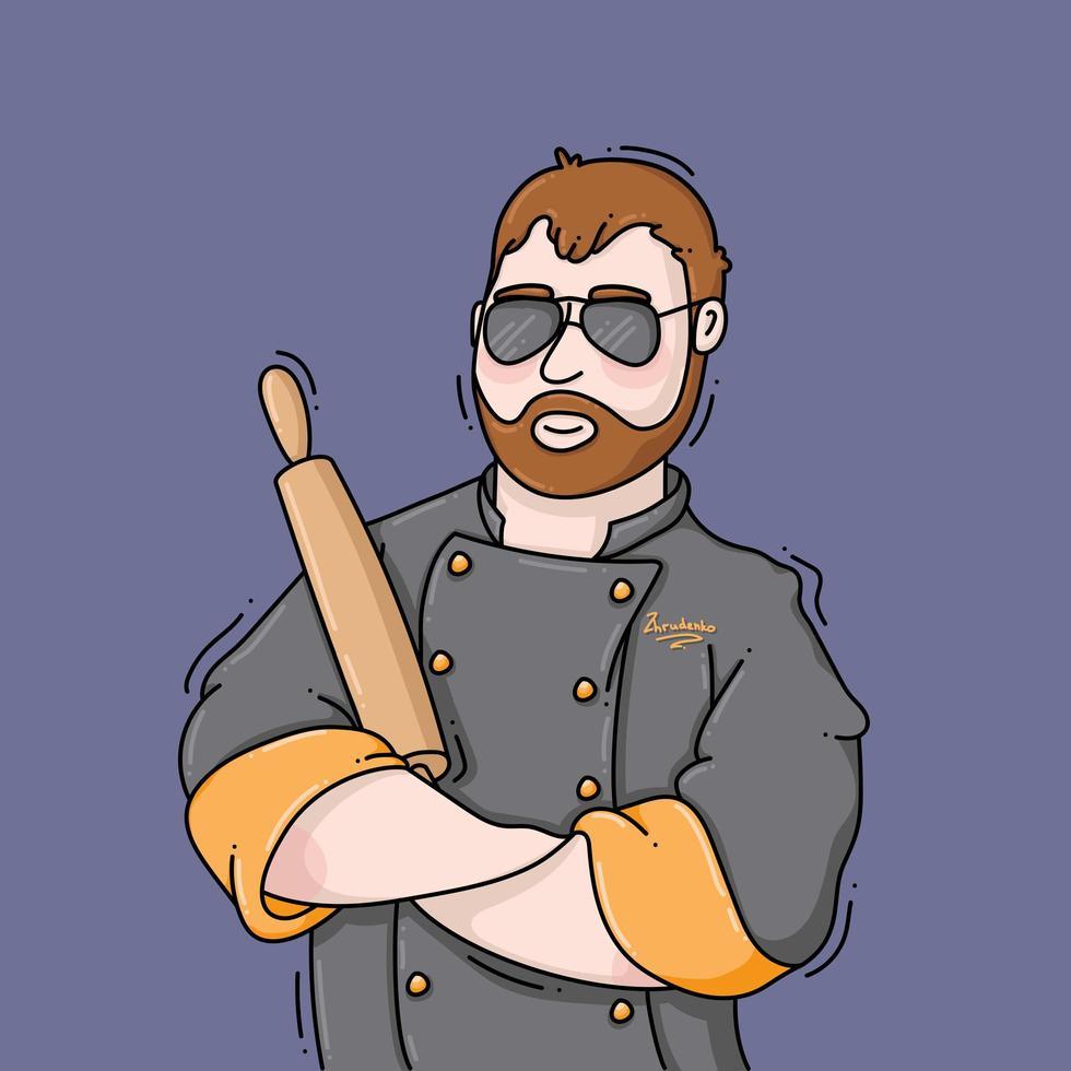 Mann, der einen Kochmantel trägt, der einen Nudelholz hält vektor