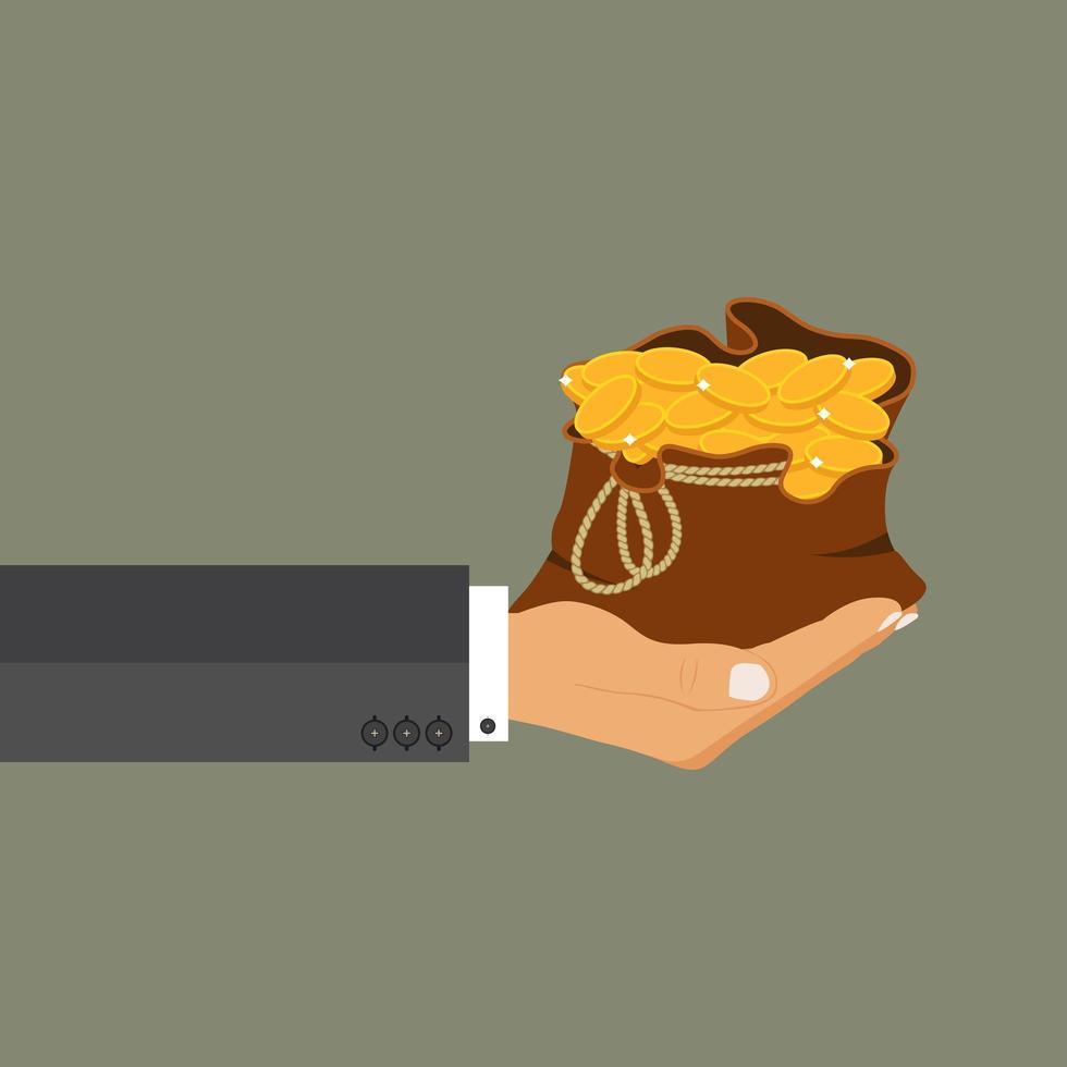 man hand hålla en påse med pengar vektor