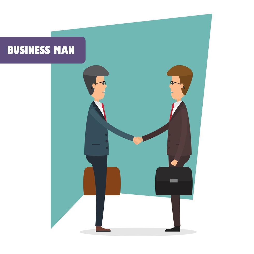 Geschäftsmann Charaktere Händeschütteln vektor