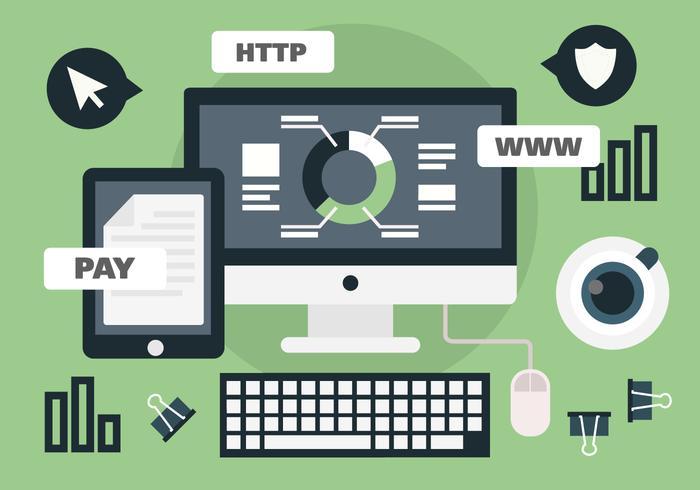 Online-Arbeitsplatz Vektor-Illustration vektor