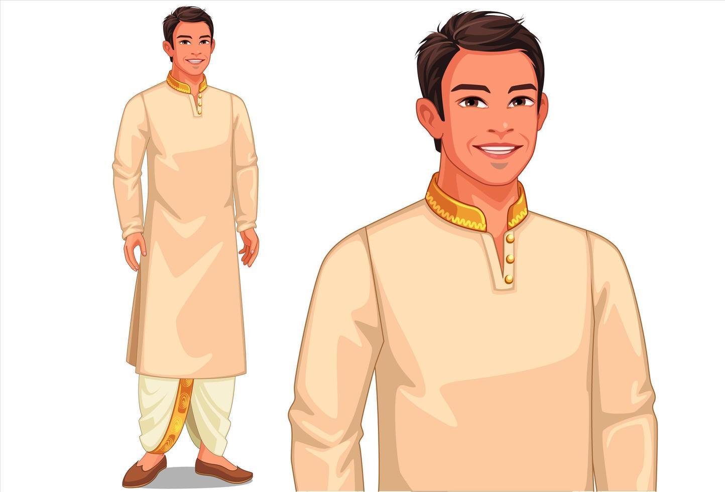 Mann in traditioneller indischer Kleidung vektor