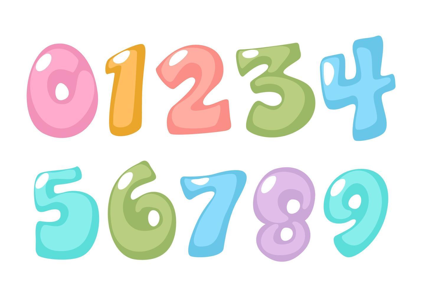 roliga, pastellfärgade nummer vektor