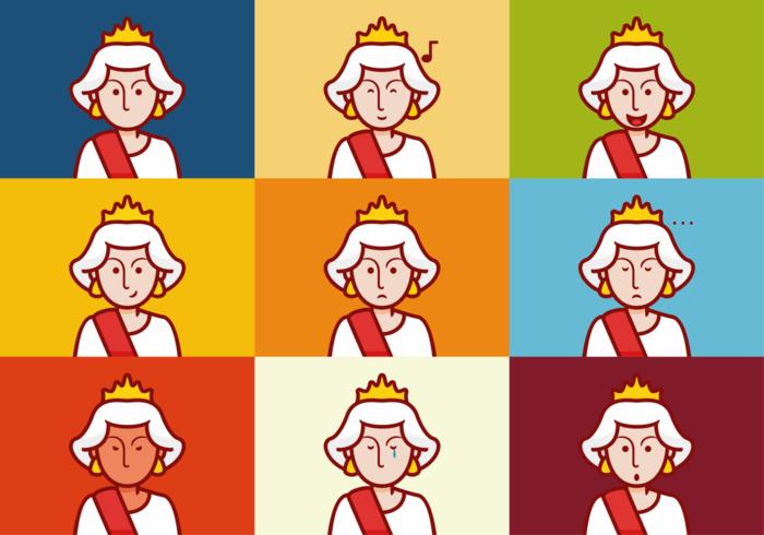 Drottning elizabeth känslor uttrycksvektorer vektor