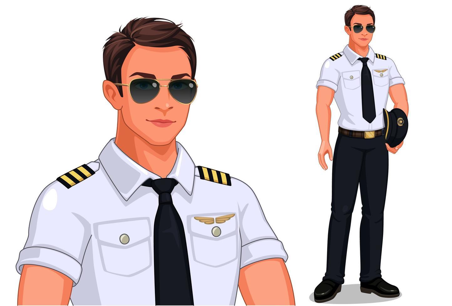 manlig pilot stående uppsättning vektor