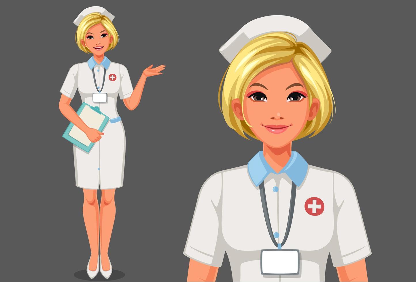 junge Krankenschwester stehend und hält ein Klemmbrettpaket vektor