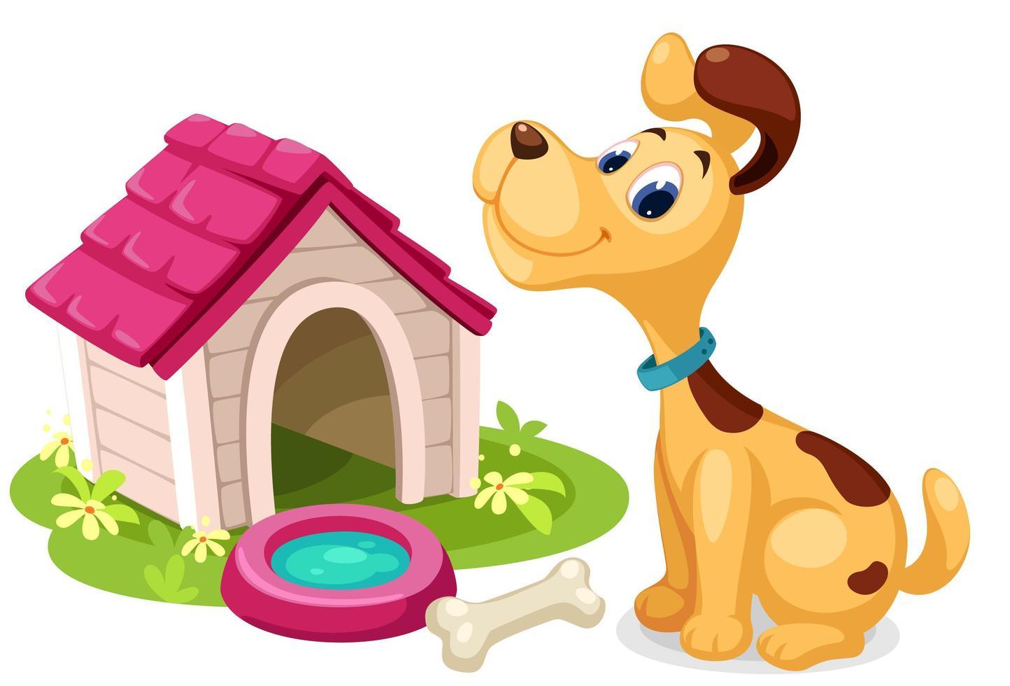 söt tecknad hund med litet hus vektor