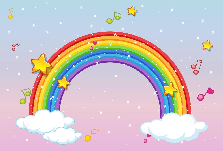 regnbåge med musik tema och glitter på pastell himmel bakgrund vektor