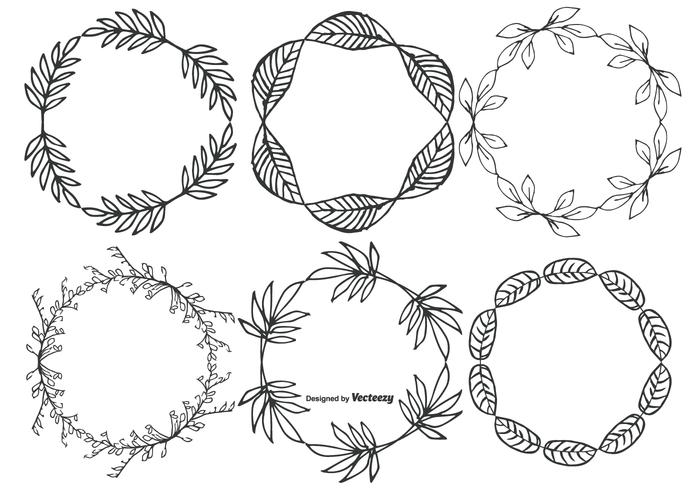 Söt Hand Drawn Sketchy Leaf Frames vektor