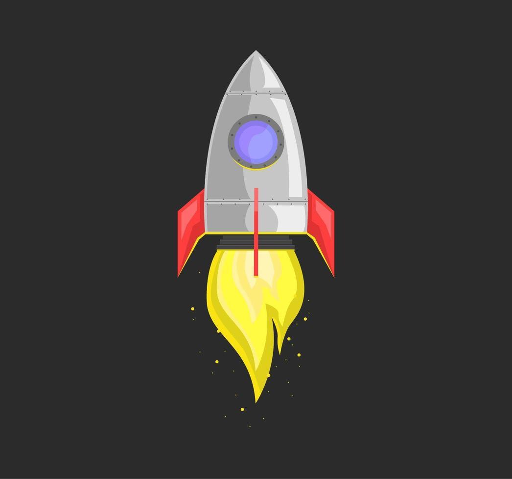 raket som lanseras på svart vektor