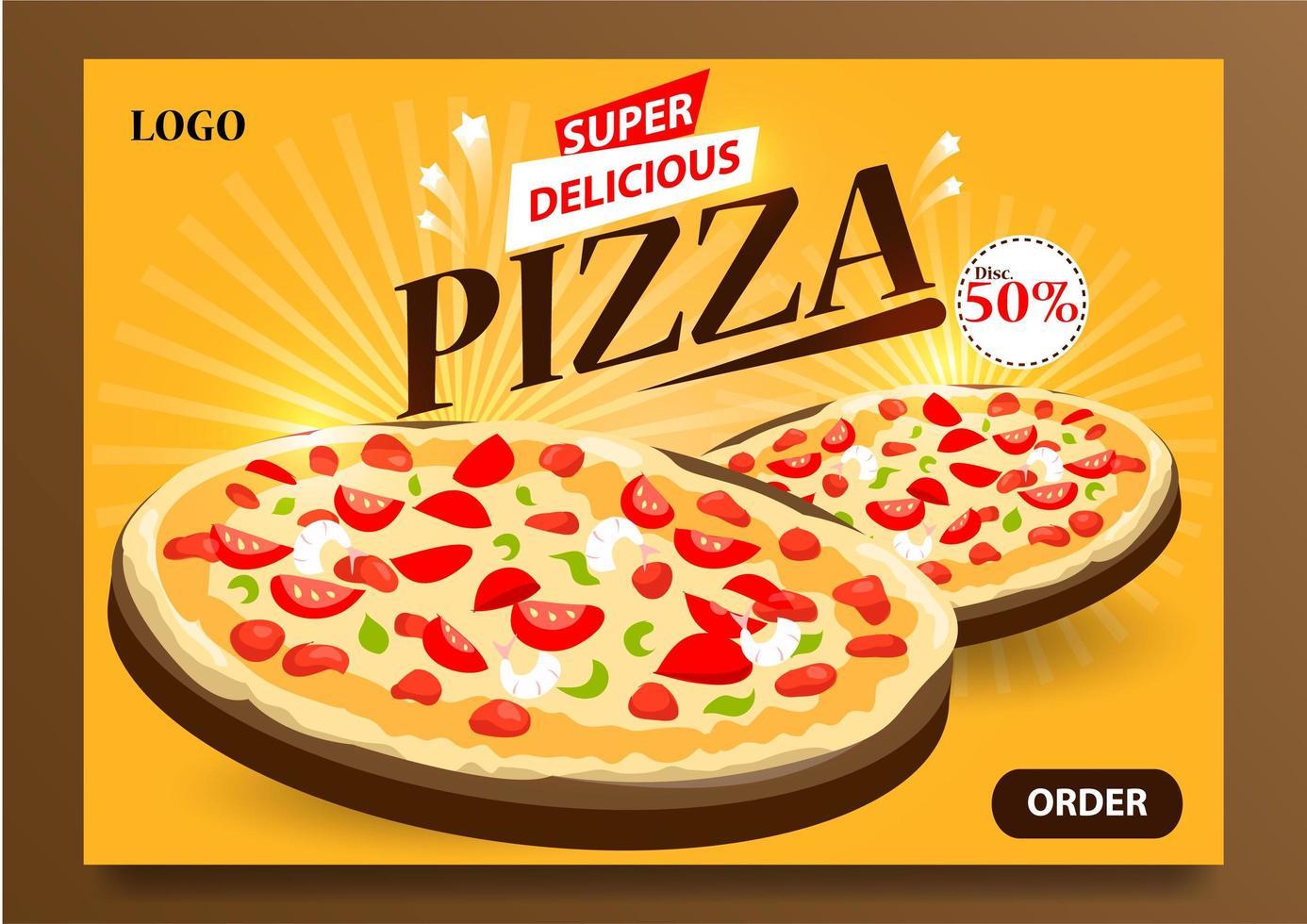 affisch för super läcker pizza vektor