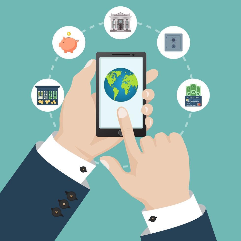mobilbankkoncept med finansiella ikoner isolerade vektor