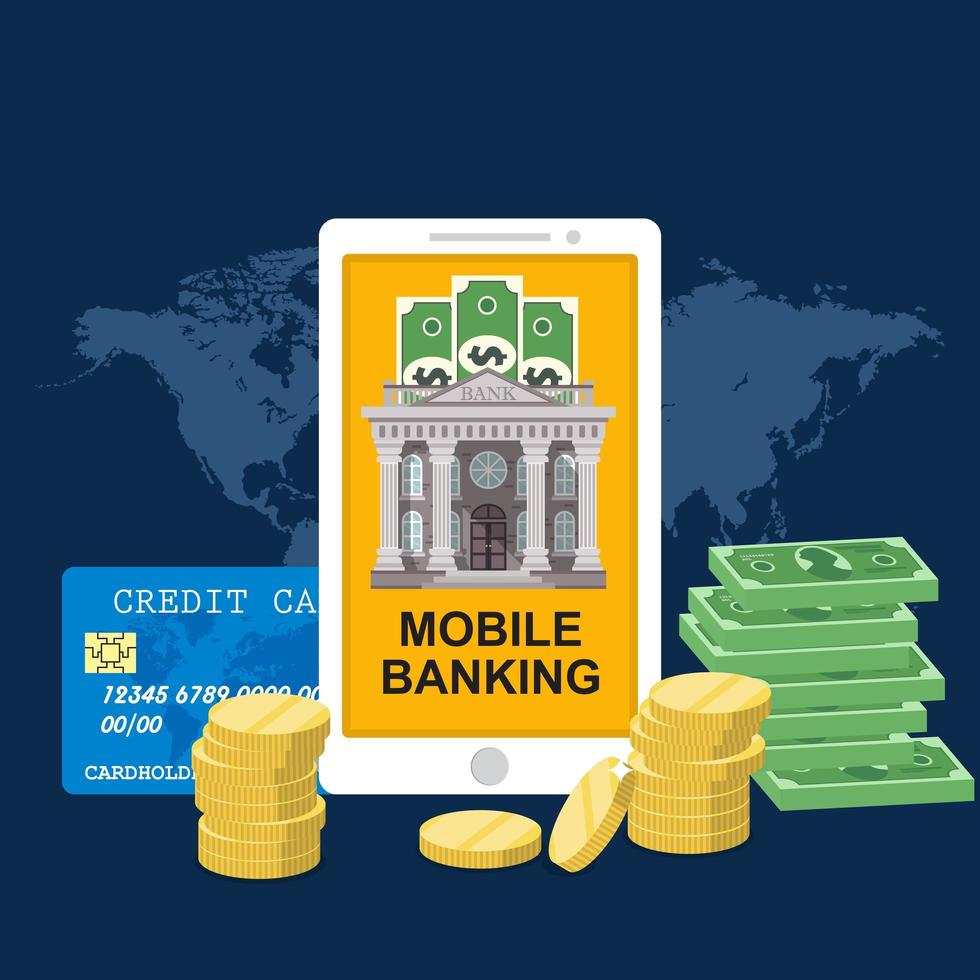 mobilt bankkoncept med kreditkort och pengar vektor