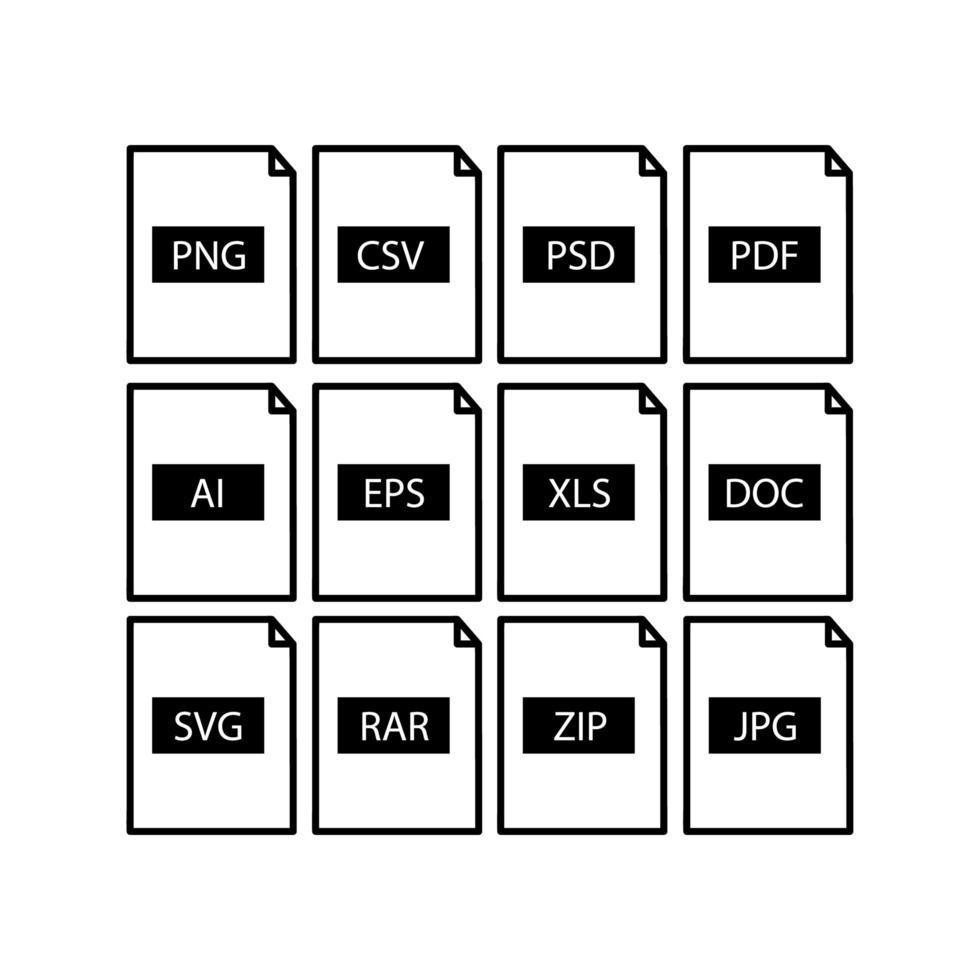 uppsättning filformatikoner vektor