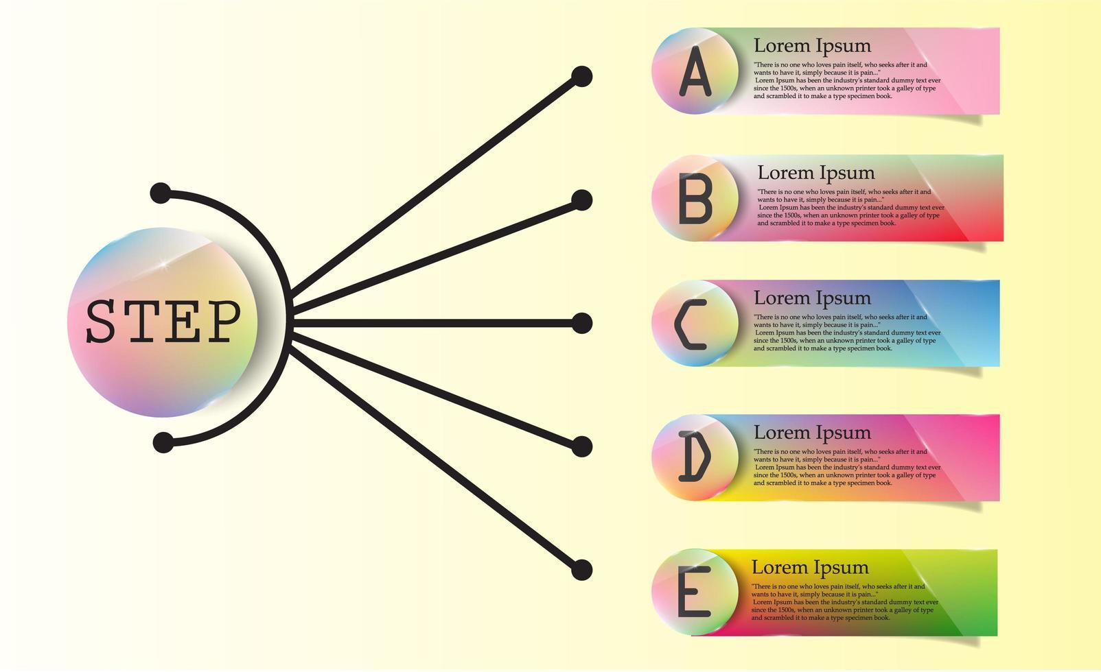 bunt glänzendes ae Etikett und Kreis Infografik vektor