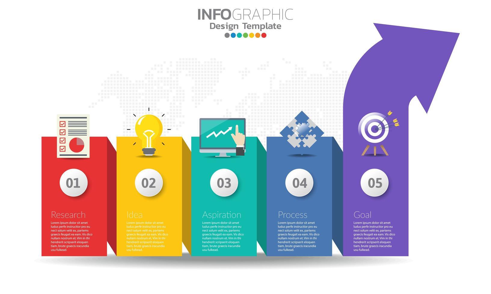 färgglad pil infographic med 5 alternativ vektor