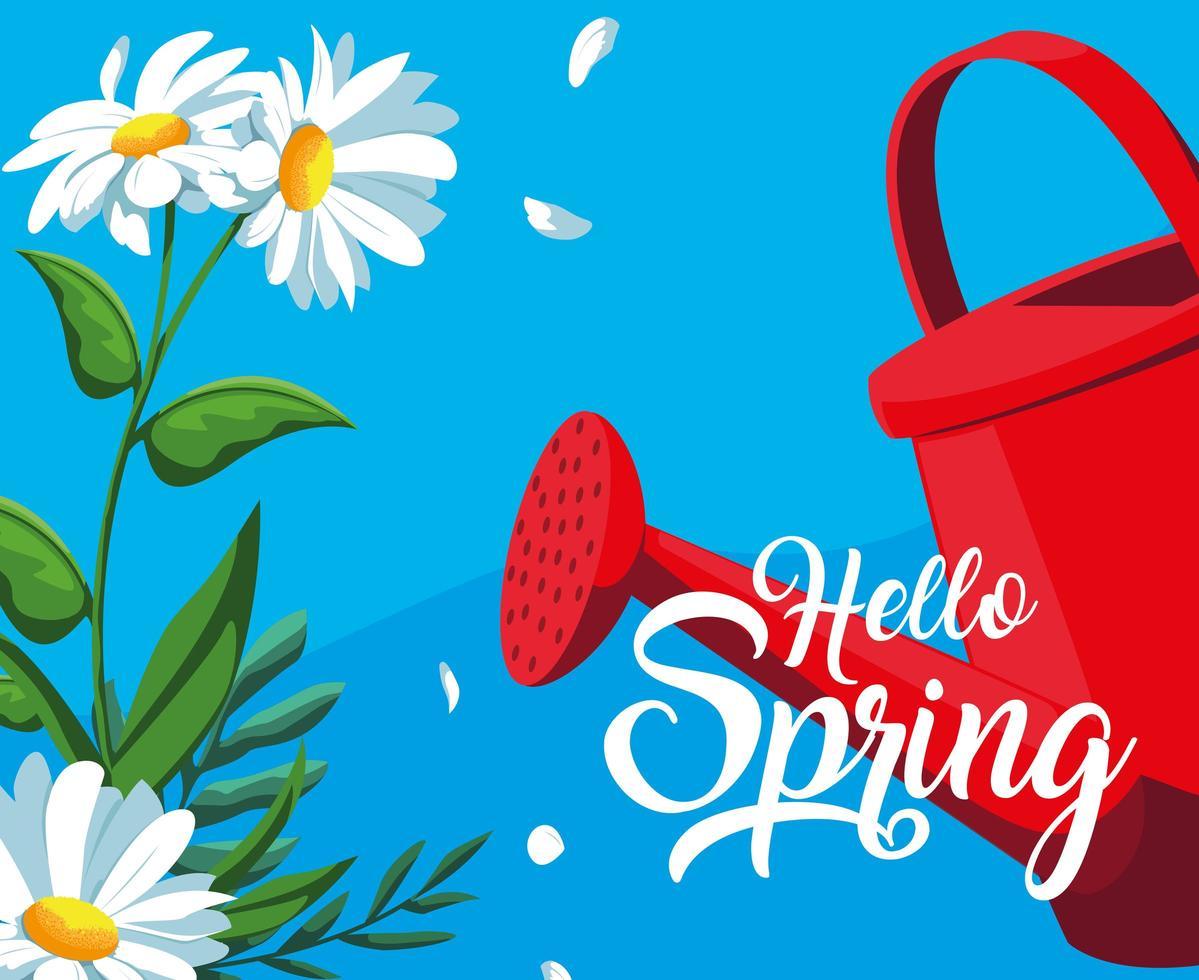 Hallo Frühlingskarte mit Blumen und Sprinklerplastiktopf vektor