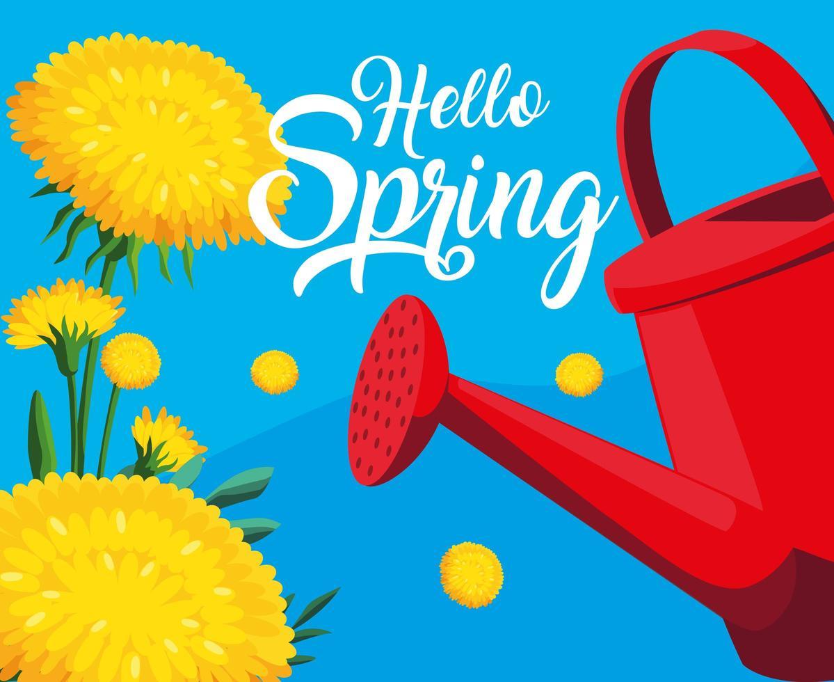 Hallo Frühlingskarte mit gelben Blumen und Sprinklertopf vektor