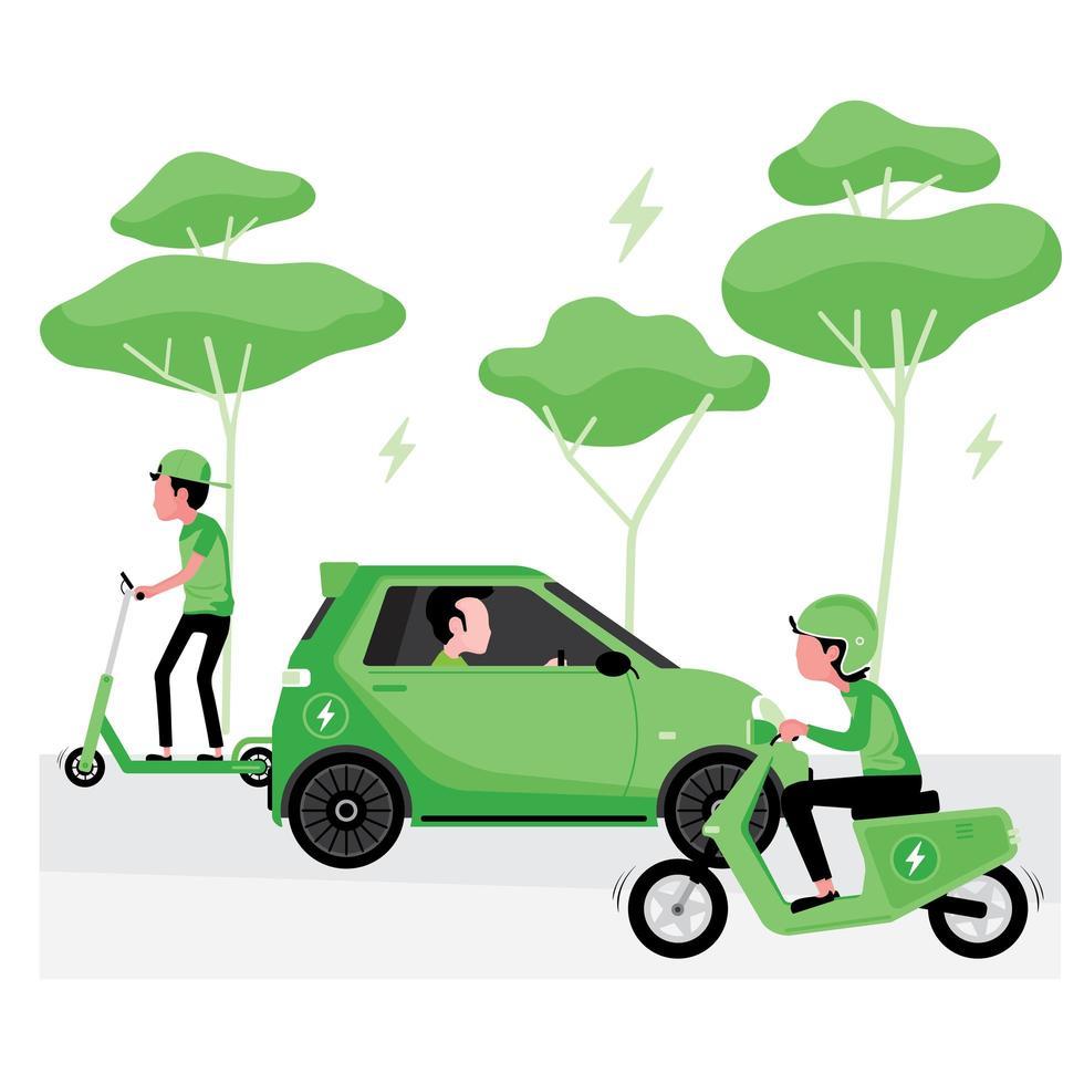 alternativ grön energikoncept med elbil vektor