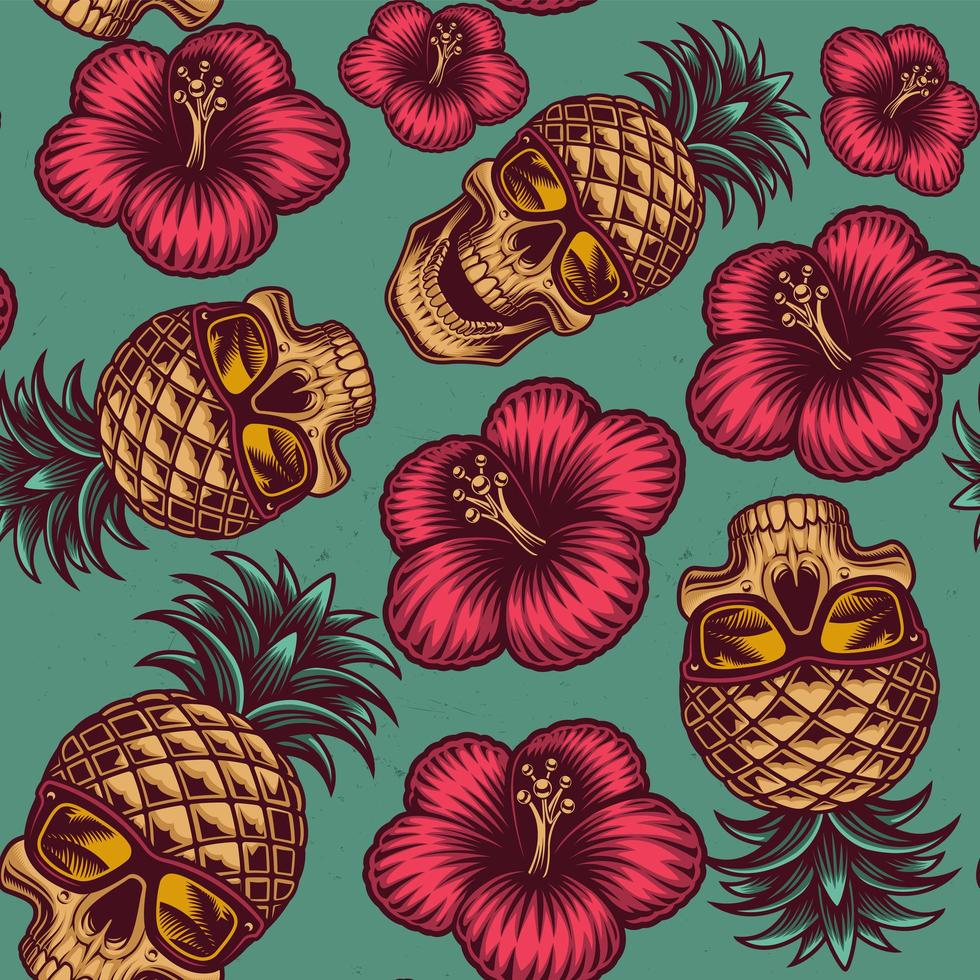 hawaiian tema ananas skalle och blommor sömlösa mönster vektor