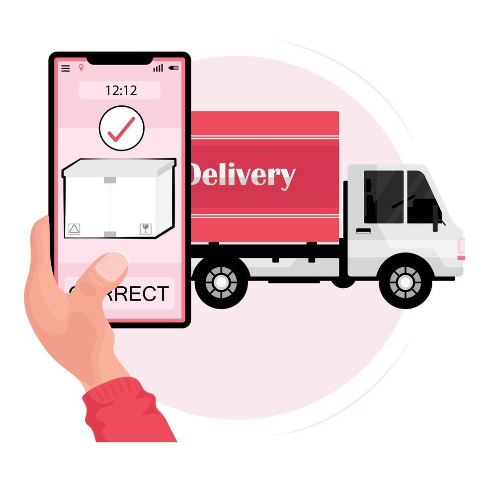handinnehavstelefon med ett paket och en leveransbil vektor