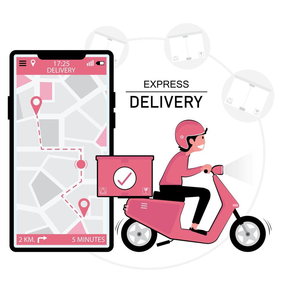 skoterleveransman och smartphone med GPS-plats vektor