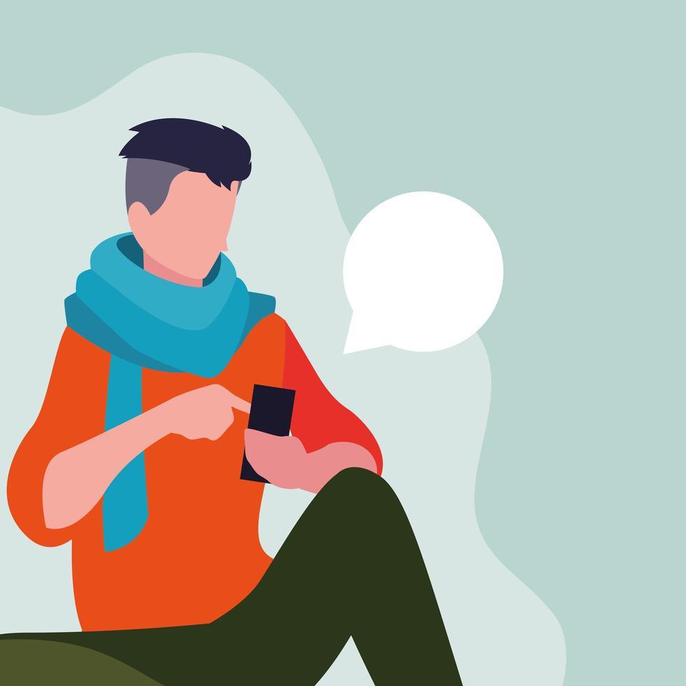Mann sitzt mit Smartphone vektor