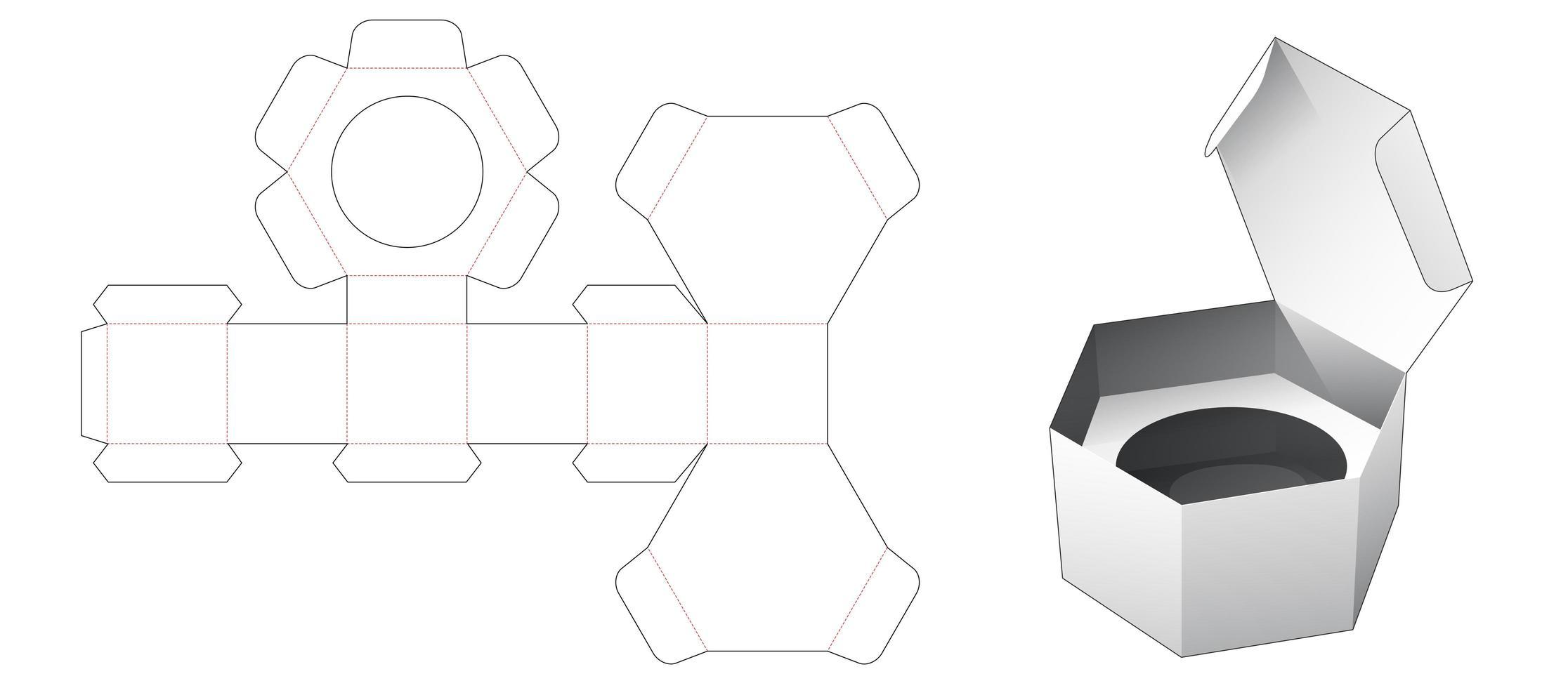 1 Stück sechseckige Kartonverpackung mit Einsatz vektor