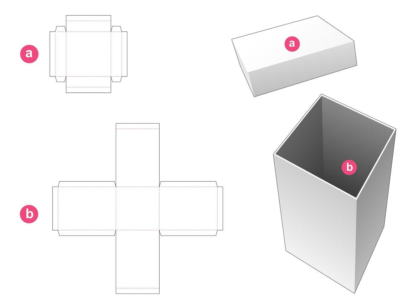 hohe rechteckige Box und Deckel vektor
