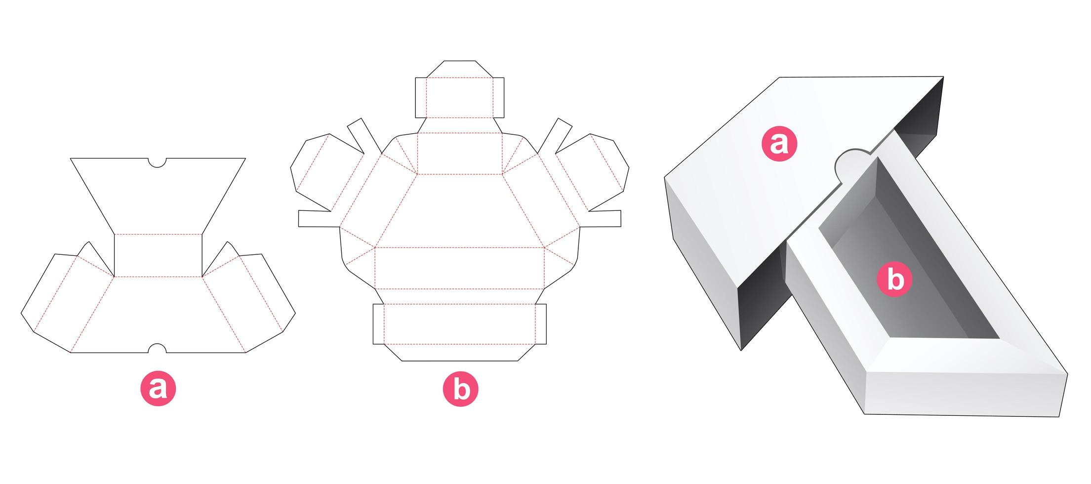 trapesformad förpackning med lock vektor