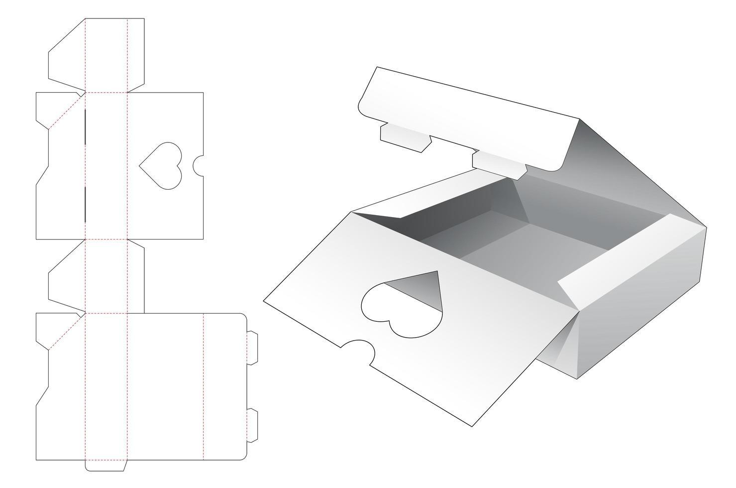 2 Flip-Top-Verpackungsbox mit Herzfenster vektor