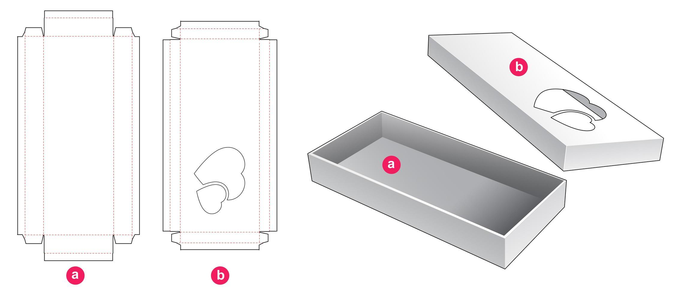 2 bit lång låda med 2 hjärtfönster vektor