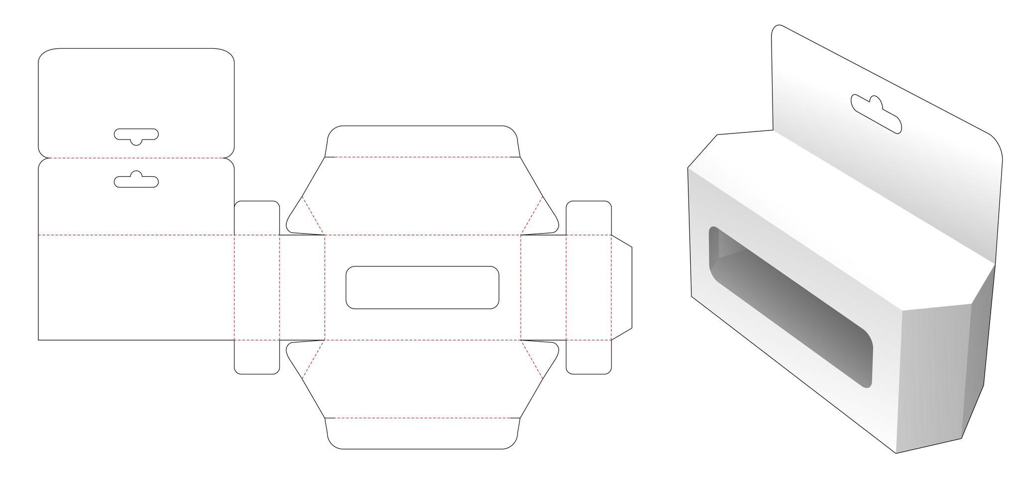 sexkantig leksakslåda med hänghål och fönster vektor
