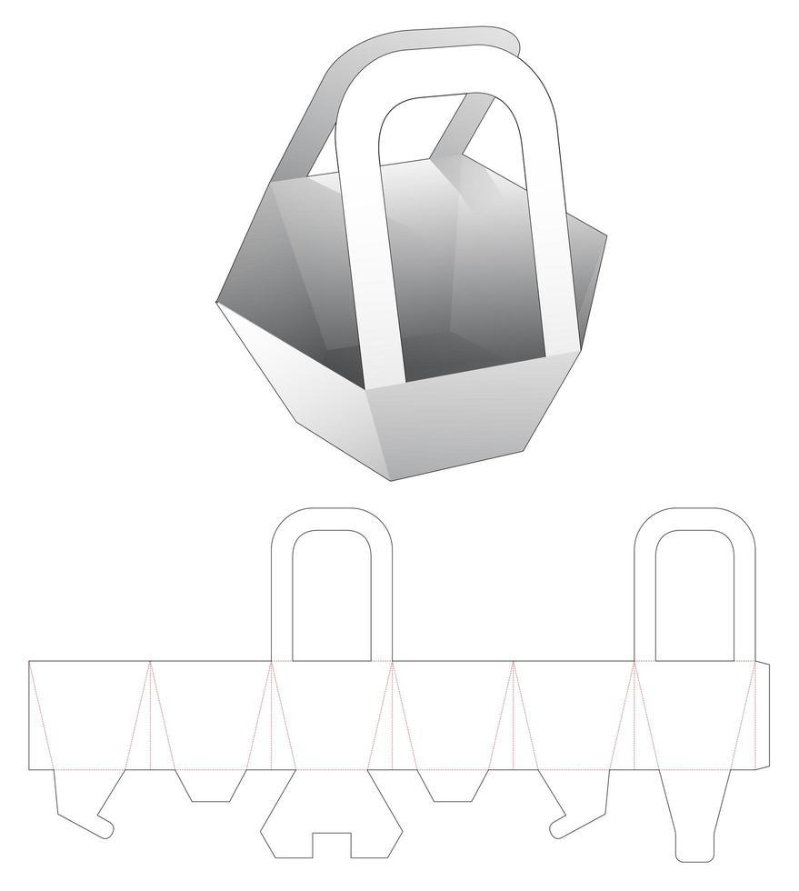 mellanmål sexkantig behållare med handtag vektor