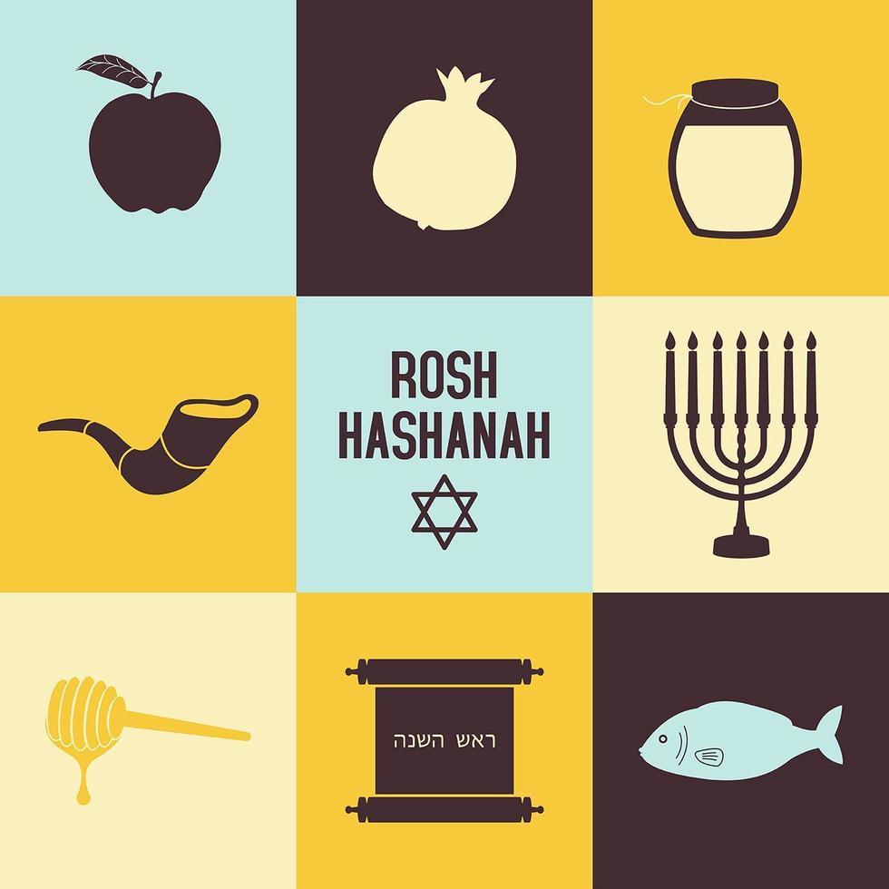 rosh hashanah Ikonuppsättning vektor