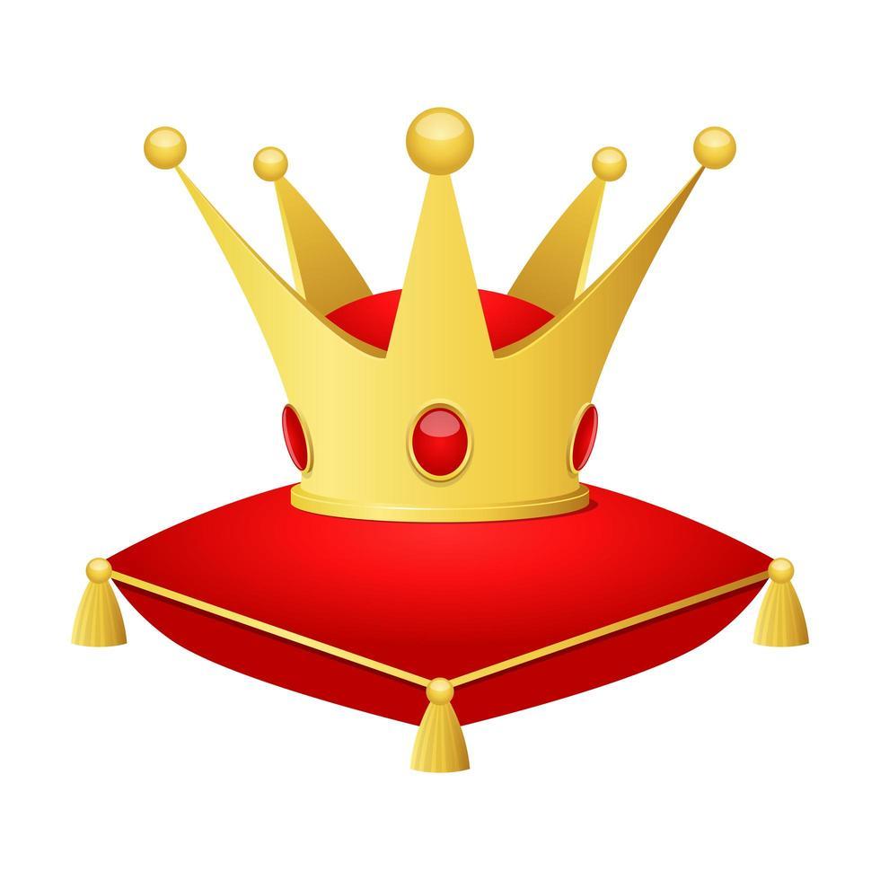 gyllene krona ovanpå en kudde vektor