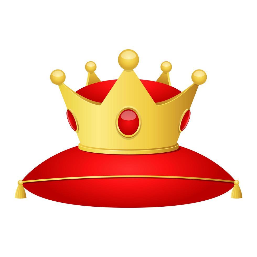 gyllene krona och kudde isolerad vektor